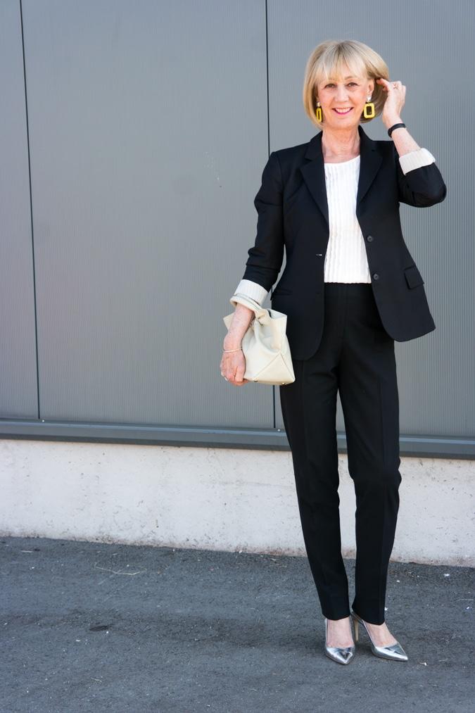 Black trouser suit