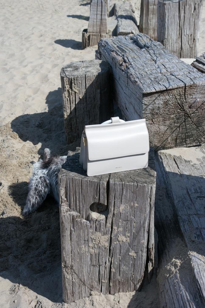 cream/grey mini bag