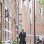 Black linen dress, a midi dress to be exact