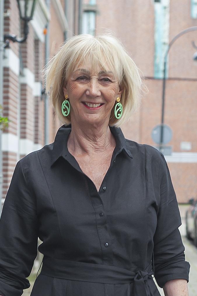 Black linen dress with earrings by Lara Design