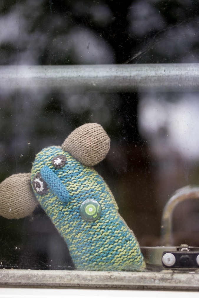 knitted mouse in the window
