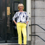 Blue and white top with yellow trousers in Amsterdam