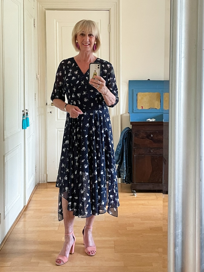 Blue floral dress by Cabi