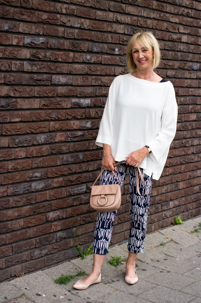 Blue patterned trousers