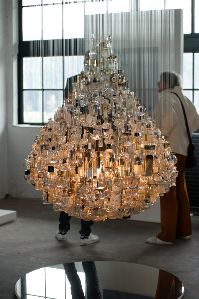 Chandelier made with perfume bottles