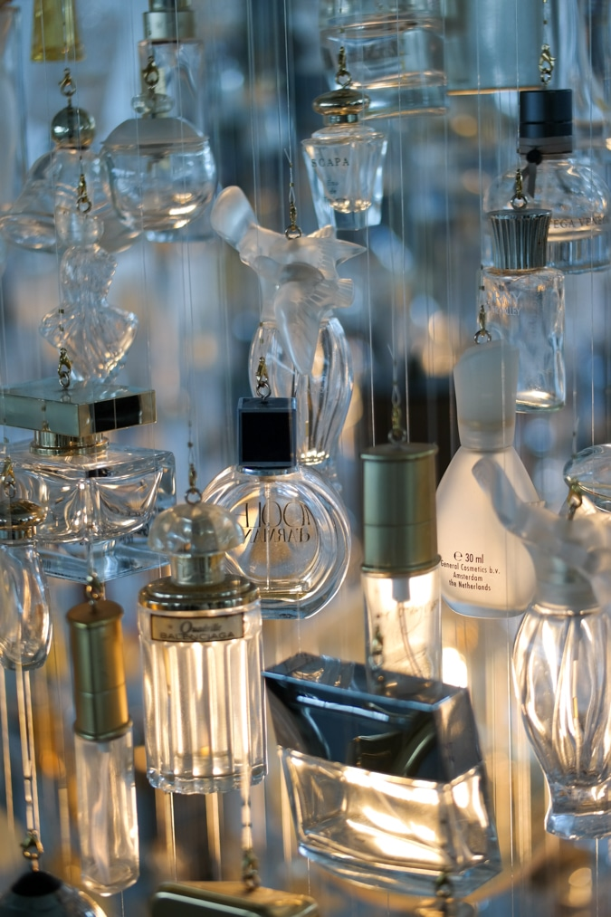 details of the perfume bottle chandelier