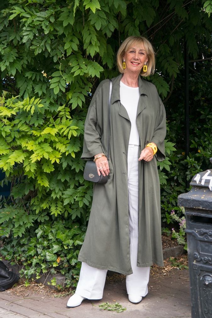 long green linen coat