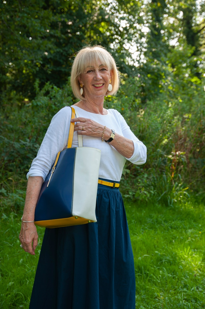 Blue skirt with small yellow belt