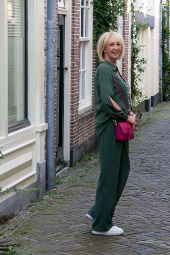 Green trousers and shirt co-ord