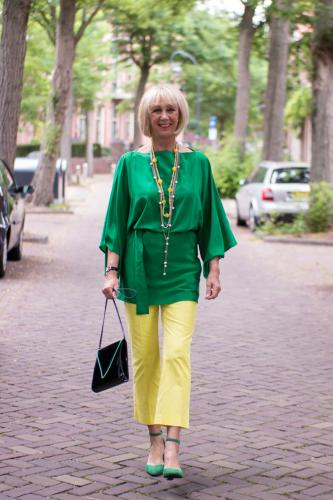 Lemon yellow trousers with a green kimono top