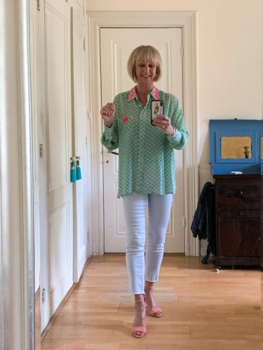Green checked shirt with pink sequins