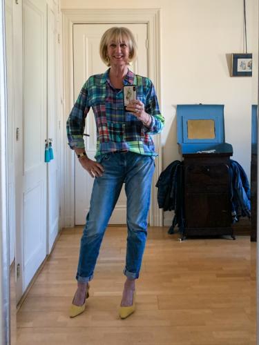 boyfriend jeans and a silk checked shirt