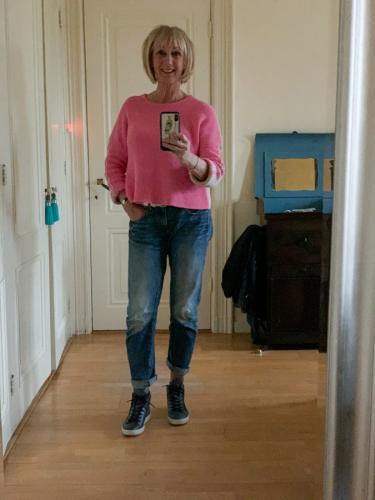 bright pink jumper
