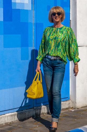 Green and yellow silk blouse
